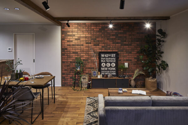 Brick tile shining house